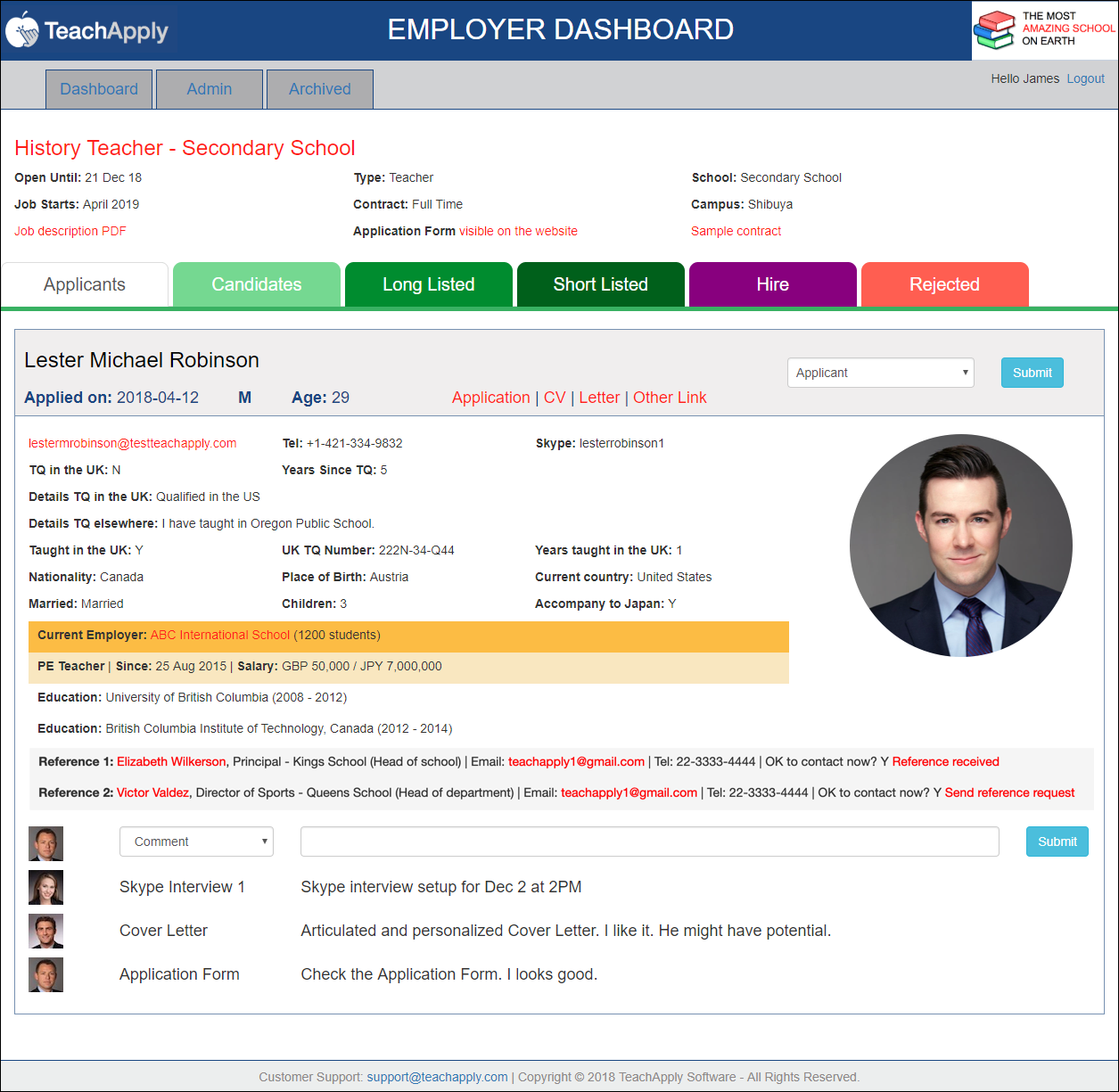 TeachApply Dashboard Demo School