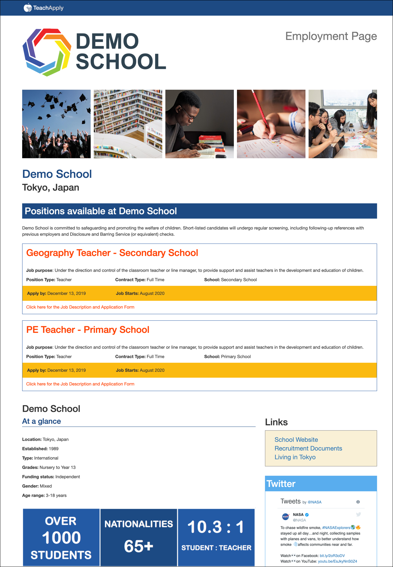 TeachApply Employment Landing Page for Demo School